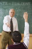 image of pre-adolescents  - Student raising his hand in class - JPG