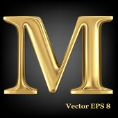 Golden shining metallic 3D symbol capital letter M - uppercase, vector EPS8