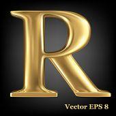 Golden shining metallic 3D symbol capital letter R - uppercase, vector EPS8