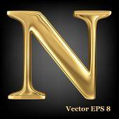 Golden shining metallic 3D symbol capital letter N - uppercase, vector EPS8