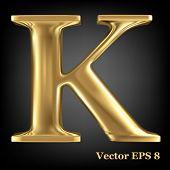 Golden shining metallic 3D symbol capital letter K - uppercase, vector EPS8