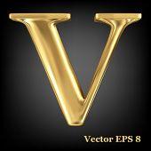 Golden shining metallic 3D symbol capital letter V - uppercase, vector EPS8