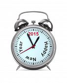 2015 year on alarm clock. Isolated 3D image