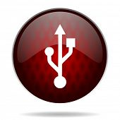 usb red glossy web icon on white background