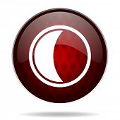 moon red glossy web icon on white background