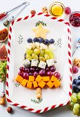 stock photo of walnut-tree  - Christmas tree cheese platter - JPG