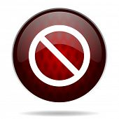 access denied red glossy web icon on white background