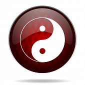 ying yang red glossy web icon on white background
