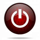 power red glossy web icon on white background