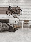 3D Rendering of Modern Loft Style Bedroom in Apartment with Furnishings, Round Bed, and Bicycle Hang
