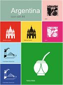 Landmarks of Argentina. Set of color icons in Metro style. Raster illustration.