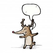 foto of rudolf  - reindeer with speech bubble cartoon - JPG