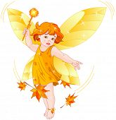 Autumn baby fairy surrounded by maple leafs conjures