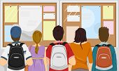 pic of pre-adolescents  - Illustration Featuring a Group of Students Gathered in Front of a Bulletin Board - JPG