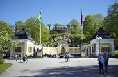 STOCKHOLM, SWEDEN - MAY 17, 2014: Entrance to Skansen. Skansen is the first open-air museum and zoo in Sweden and is located on the island Djurgrden