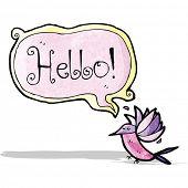 cartoon hummingbird with speech bubble