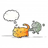 stock photo of farting  - cartoon cat farting - JPG