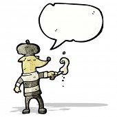 cartoon dog wearing beret and smoking