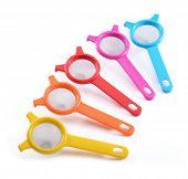 colorful plastic kitchenware Strainers