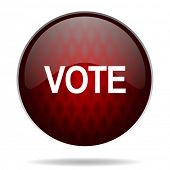 vote red glossy web icon on white background