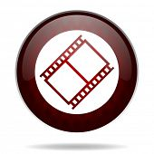 film red glossy web icon on white background