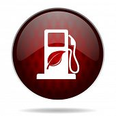 biofuel red glossy web icon on white background