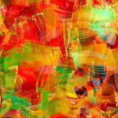 art abstract colorful chaotic waves seamless pattern, background in red, orange, green and gold colors
