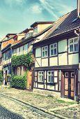 Old street in Quedlinburg town, Germany. Instagram filter
