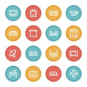 Home Appliance web icons, color circle buttons