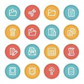 Document web icon set 2, color circle buttons