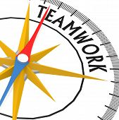 Compass With Teamwork Word