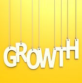 Growth Word In Yellow Background