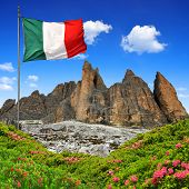 Tre cime di Lavaredo with Italy flag , Dolomite Alps,Italy