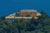 Aerial of monastery in Paleokastritsa, Corfu (Kerkyra), Greece