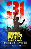 Big party and dancing people poster, vector illustration