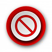 access denied red modern web icon on white background