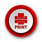 printer red modern web icon on white background