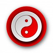 ying yang red modern web icon on white background