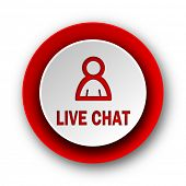 live chat red modern web icon on white background