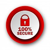 secure red modern web icon on white background