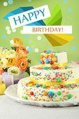 Beautiful tasty birthday cake on color background