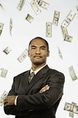 Money raining down on Asian businessman