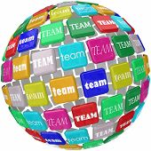 Global Team word tiles around the world as international business workers joinging forces to complete a company objective or mission