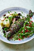 Oven-Roasted Trout with Vegetables and Arugula Salad