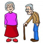 grandparents cartoon illustration isolated on white