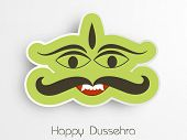stock photo of ravana  - Illustration of Ravana face in funny way for sticker with Happy Dussehra text - JPG