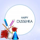 stock photo of navratri  - Illustration of colourful crackers with stylish Happy Dussehra text in rounded white frame - JPG