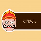stock photo of navratri  - Illustration of Ravana face wearing red crown with stylish text on label - JPG