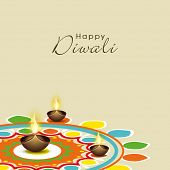 stock photo of rangoli  - Illustration of colourful rangoli with illuminated brown lit lamps and stylish text - JPG