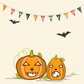 Illustration of laughing pumpkins in horrible way with flying bats and stylish textin small flags.